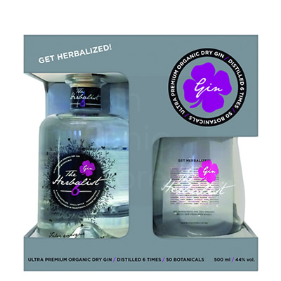 Giftpack The Herbalist Gin 50cl + glas